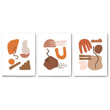 Terracotta Abstract Shapes Canvas Wall Art Triptych by Wall & Wonder