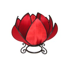 Waterlily Table Lamp in Red and Black Trim