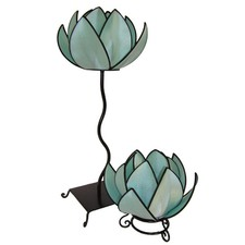 Waterlily Floor Lamp In Turqoise and Black Trim