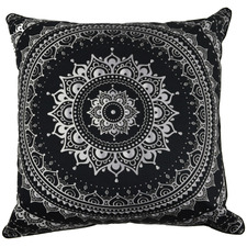 Black Mandala Lana Cotton Cushion