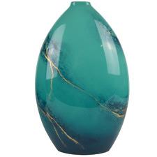 Large Blue Elements Lacquer Bottle Vase