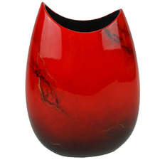 Medium Red Elements Lacquer Flat Vase