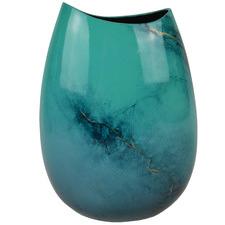 Medium Blue Elements Lacquer Flat Vase