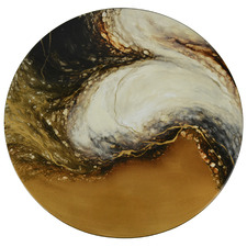 Brown Elements Hand-Painted Lacquer Round Wall Accent