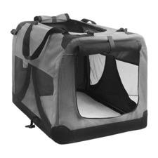 Large Portable Soft Pet Dog Crate Folding Grey