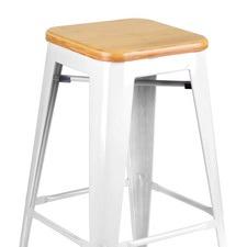 Tolix Replica Metal Steel Bamboo Seat Bar stool 76 cm (Set of 2)