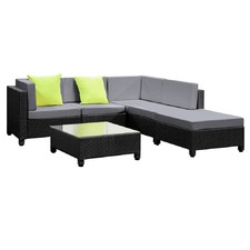 6 Piece Outdoor PE Rattan Lounge Set