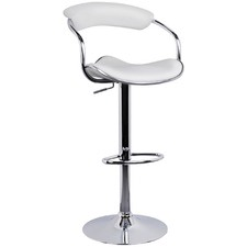 White Faux Leather Adjustable Bar Stool (Set of 2)