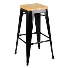 Replica Tolix Bar Stool Bamboo Seat 76cm (Set of 2)