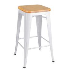 2 x Tolix Replica Metal Steel Bamboo Seat Bar stool (Set of 2)