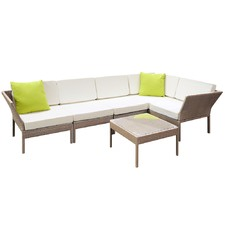 Stackable 6 Piece PE Rattan 5 Seater Outdoor Lounge Set