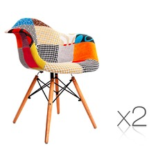 Set of 2 Replica Eames Armchairs Fabric A