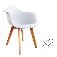 White Eames Replica Armchairs (Set of 2)