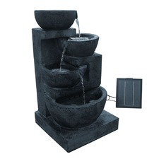 Solar Power Four-Tier Water Fountain Feature w/ LED