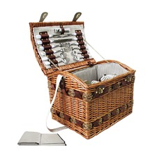 4 Person Picnic Basket Set w/ Cheese Board Blanket