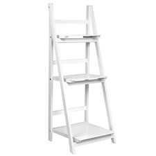White Wooden Ladder Storage Display Shelf