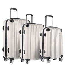 3 Piece White Hard Shell Luggage Set