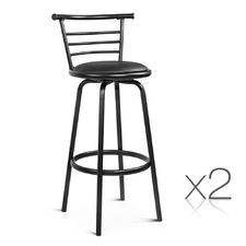 Black Swivel Seat Bar Stools (Set of 2)