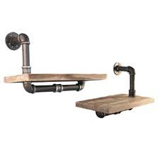 Set of 2 Industrial Floating Pipe Shelves