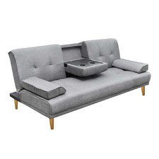 Grey Linen 3 Seater Sofa Bed