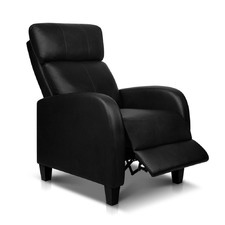 Black Faux Leather Armchair Recliner