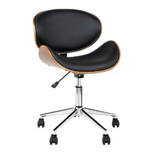 Black Bentwood Wings Faux Leather Office Chair