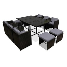 Black & White Capetown Dining 10 Seater Set