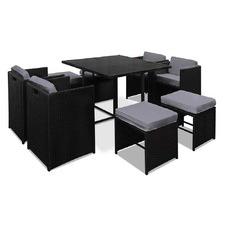 Black & Grey Hawaii 9 Seater Dining Set