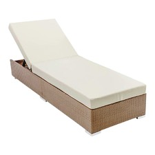 Wicker Sun Lounger with 3 Cover Sets