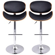 Wooden Barstools with Padded Seats (Set of 2)