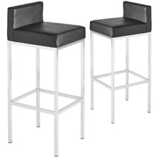 Contemporary Low Back Bar Stools (Set of 2)