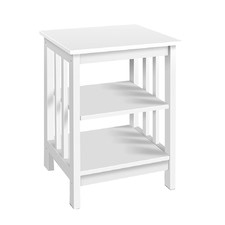 White Slatted Timber Side Table