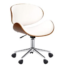 Walnut Base White Office Chair