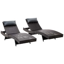 Black Outdoor Sun Lounges (Set of 2)