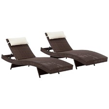 Brown Outdoor Sun Lounges (Set of 2)