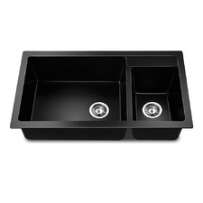 Black Stone Kitchen Double Sink