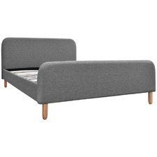 Grey Linen Fabric Bed Frame