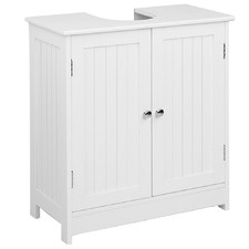 White Pedestal Sink & Storage Cabinet
