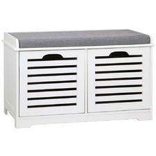 White & Grey Shoe Bench with Drawers