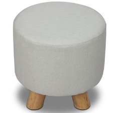 Round Collection Linen & Pine Wood Ottoman