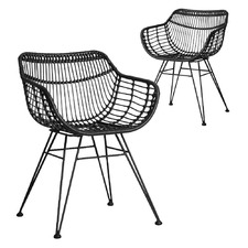 PE Rattan Tub Dining Chairs (Set of 2)