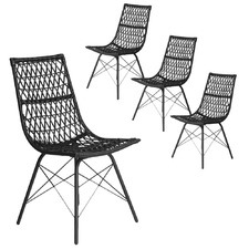Black PE Rattan Dining Chairs (Set of 4)
