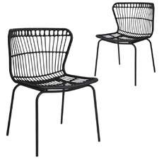 Faux Rattan Fan Back Dining Chairs (Set of 2)