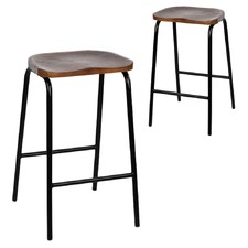 Black Industrial Wooden Seat Barstools (Set of 2)