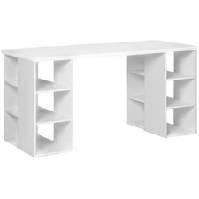 White Computer Desk with 3 Tier Storage Shelves