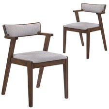 Grey & Walnut Retro Dining Chairs (Set of 2)