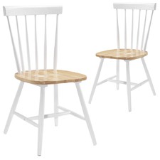 White & Oak Timber Dining Chairs (Set of 2)