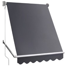 Grey Retractable Fixed Pivot Arm Awning