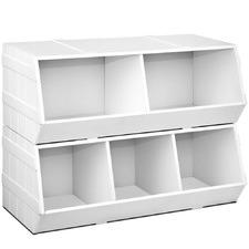 2 Piece White Kids' Toy Storage Box Set