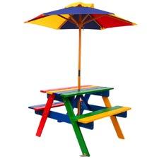 Rainbow Kids' Wooden Picnic Table Set with Umbrella